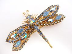 Gorgeous Large Sparkling Layered Rhinestone Dragonfly Brooch