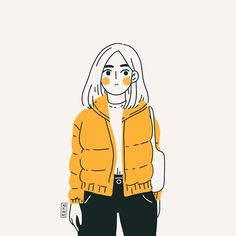 Tuesday is puffy jacket time- Winter is here as it feels like the fridge when I go out! How do you keep yourself warm in this cold weather? Portrait Illustration, Cute Illustration, Character Illustration, Cute Art Styles, Dibujos Cute, Puffy Jacket, Korean Art, Winter Is Here, Anime Art Girl