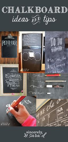 Chalkboard Ideas and Tips...obsessed with chalkboards, and today I'm sharing a roundup of some of my own ideas and tips for chalkboards as well as some amazing ones I found on pinterest.