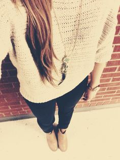 Fall outfit with neutral booties.