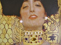 Close-up of Klimt's Edith embellished with gems!  Find at Artgems.org