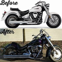 #TransformationTuesday This #2001 #Yamaha #XV1600AS #RoadStar #MidnightStar has gone through quite the #transformation. With all of these #motorcycle customizations added to it. It definitely resembles a #HarleyDavidson #FLSTF #Softail #FatBoy. It's FOR SALE for $6,000 (OBO) in Strongsville, #Ohio. Check out the full listing at www.CycleCrunch.com/477376.