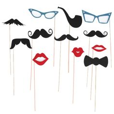 Photo Booth Props | Photobooth Prop | Selfie | Moustache | Glasses | Lips | On sticks | Wedding  http://www.threepotatofour.co.uk/product/photoboothprops/2549.html