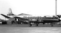 "Trans Australia Airlines - TAA Vickers 756C Viscount VH-TVL ""George Evans"" at Brisbane-Eagle Farm, September 1967. (Photo: P. J. Gates Collection)"