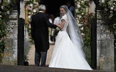 PippaMiddleton, is escorted by her father Michael Middleton, as she arrives for her wedding to James Matthews at St Mark's Church in Englefield Kate Middleton, Pippa Middleton Wedding Dress, Middleton Family, Pippas Wedding, Lace Wedding Dress, Wedding Gowns, Wedding Outfits, Lace Dress, Lace Bride