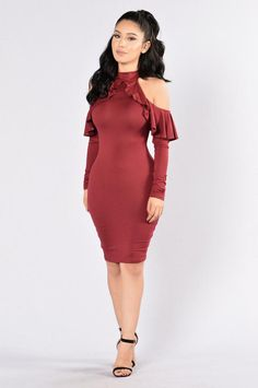 e935f11fb89653 Going Strong Dress - Burgundy