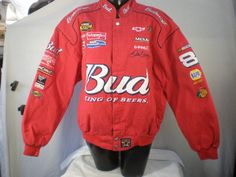 NASCAR Dale Earnhardt Jr Budweiser Red Jacket with Many Patches Chase Authentics Size XL - http://raise.bid/store/clothing/earnhardt-budweiser-authentics/