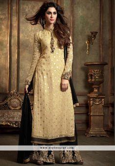 Beige Color Georgette Designer Party Wear Plazzo Salwar Suit-34891
