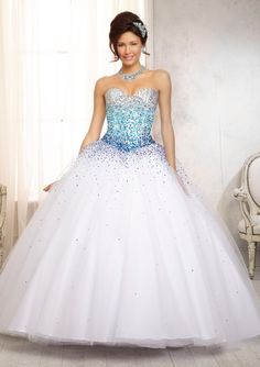 88086 Quinceanera Gowns 88086 Ombré Beaded Bodice on a Tulle Ball Gown Skirt