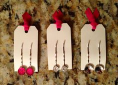 Decorated bobby pins made as per buyer preference. Various options available.