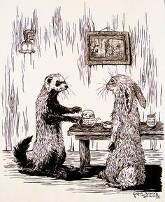 Ferret and #Hare - KitsuneBara & Curiosity http://www.pinterest.com/pin/461056080574043822/ ~ http://www.pinterest.com/search/pins/?q=ferret%20garden