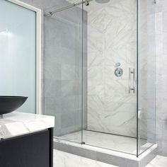 Frameless sliding glass door shower enclosure for a modern bathroom - Decoist Shower Door Hardware, Bathroom Shower Doors, Frameless Sliding Shower Doors, Glass Bathroom, Glass Shower Doors, Small Bathroom, Master Bathroom, Glass Showers, Sliding Doors