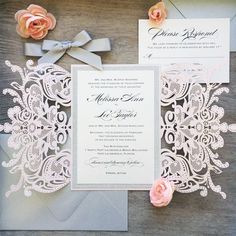 Blush Laser Cut Wedding Invitation with Silver Glitter and Silver Satin Bow - Elegant Laser Cut Invite - Custom Colors