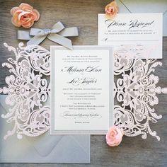 Blush Laser Cut Wedding Invitation with Silver Glitter and Silver Satin Bow - Elegant Laser Cut Invite - Custom Colors