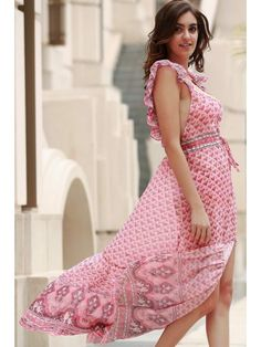 Tiny Floral Ruffle Strap Flowing Dress - PINK XL