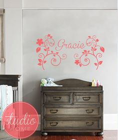 Little Girl's NAME with FLOWERS  Wall Art  Wall by DotStudioHome