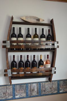 made from reclaimed wood wine barrels New Design! - Wine Barrel wine rack - exact dimensions of a full barrel This is a unique wine bottle wine rack. Tonneau Bar, Wine Barrel Crafts, Barris, Barrel Projects, Wine Barrel Furniture, Rustic Wine Racks, Wine Glass Holder, Bourbon Barrel, California Wine