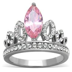 Stainless Steel Pink CZ Crown Ring – Just Fab Not Drab