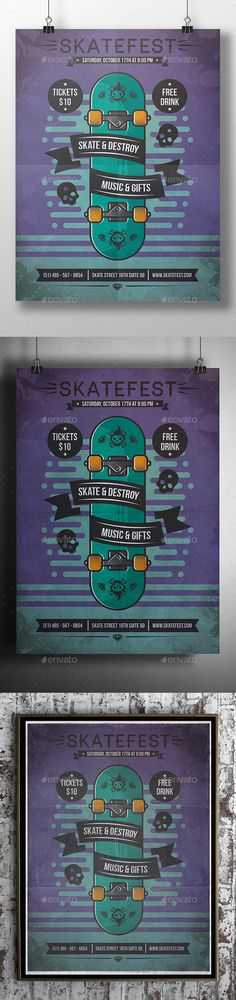 Skate Poster Flyer Event Template PSD #design Download: http://graphicriver.net/item/skate-poster-flyer-event/12879100?ref=ksioks