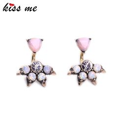 Pink Opal Stud Earrings for Women Fashion Jewelry Charming Party Antique Gold Plated Earrings