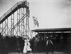 Photograph shows large crowd of spectators watching Eunice Padfield and horse diving from high tower; animal act possibly taken place in Pueblo, Colorado. 4th Of July History, Horse Diving, High Diving, Bizarre Photos, Photoshop, Weird Pictures, Atlantic City, Wild Hearts, Vintage Photographs