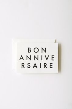Bon Anniversaire - Letterpress Printed Note Card