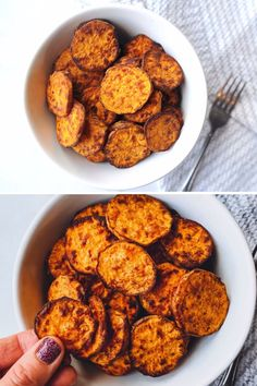 Air fryer sweet potato rounds are a family friendly side dish. These are crispy sweet potato rounds made in the air fryer, with only a bit of healthy oil! Clean Eating Recipes, Lunch Recipes, Paleo Recipes, Dinner Recipes, Paleo Meals, Eating Clean, Easy Recipes, Paleo Whole 30, Whole 30 Recipes