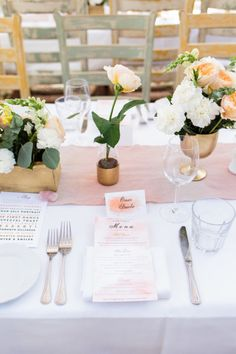Gold and blush wedding decor: http://www.stylemepretty.com/2014/11/03/pink-and-gold-summer-greenhouse-wedding/ | Photography: Nicole Wasko - http://www.nicolewasko.com/