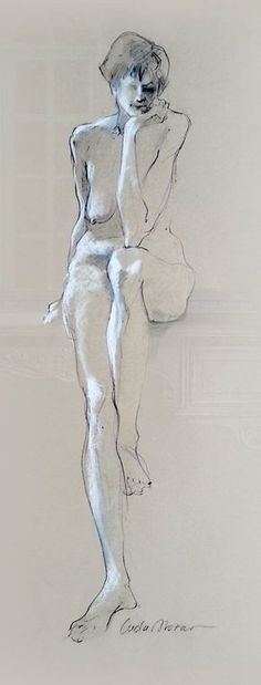 """Figure Drawing Female Nude Gesture Sketch by Lucy Morar / Fine Art Print 4"""" x 10"""" / Charcoal Drawing / Thoughtful #FigureDrawing #FemaleNude #GestureSketch #LucyMorar #ArtPrint #CharcoalDrawing #Charcoal #Drawing #lifedrawing #nudefiguredrawing #woman #nudewoman"""