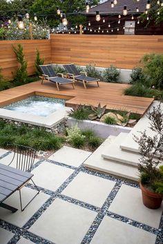 Outdoor Jacuzzi and outdoor spa 100 ideas for landscaping Modern Backyard, Backyard Garden Design, Small Backyard Landscaping, Backyard Fences, Modern Landscaping, Landscaping Design, Backyard Ideas, Patio Ideas, Backyard Pools
