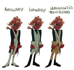 Just a super quick messy ref of some revolutionary uniforms where I found out that I've been putting America in the wrong one this whole time ( I've always saw him in more in the infantry than artillery ) Also there's a high chance that the Washington body guard one is wrong there are like 3 fuzzy pictures I found on the the internet.