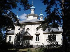 Orthodox church in Hanko, Finland. It was built in and is dedicated to Vladimir, the Grand prince of Kiev and St. Mary Magdalene I by Balcer Grave Monuments, Grand Prince, Mary Magdalene, Nordic Design, Finland, Places To Visit, Mansions, House Styles, Building