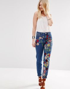 Image 4 ofGlamorous Petite Embroidered Girlfriend Jean                                                                                                                                                     More