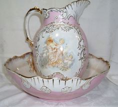 Antique La Belle Chamber Bowl and Large Pitcher Wheeling Pottery Angels Cherubs | eBay