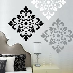 Damask Pattern - Vinyl Wall Decal  - large wall stickers set of 12. $43.95, via Etsy.