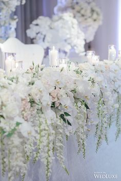 Bridal table flowers - A White Wisteria and Silver Sparkle Dream – Bridal table flowers Wedding Table Flowers, White Wedding Flowers, Wedding Table Decorations, Wedding Centerpieces, Wedding Bouquets, Wedding Tables, Wedding Ceremony, White Wedding Flower Arrangements, Wedding Arches