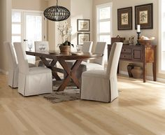 Attrayant Beautiful Crossbuck Trestle Dining Room Table With Slip Cover Side Chairs  From Kimbrellu0027s Furniture. #