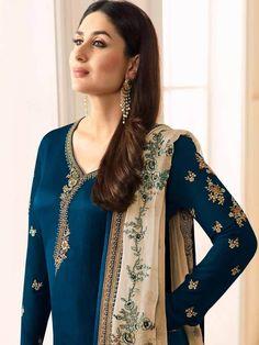 Delisa Ready Made New Designer Indian/Pakistani Fashion Dresses for Women (Crape Blue, – 2018 Ladies Suits Indian, Indian Attire, Indian Wear, Pakistani Dresses, Indian Dresses, Indian Outfits, Indian Clothes, Kurta Designs, Blouse Designs