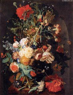 Vase de fleurs dans une niche, huile de Jan Van Huysum (1682-1747, Netherlands)