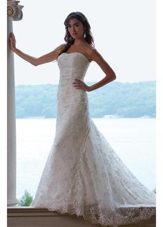 LACE BRIDESMAID PARTY BALL EVENING GOWN IVORY WHITE DIVINE LACE SHEATH STRAPLESS WEDDING DRESS