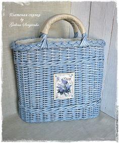 """Купить Сумка """"Французкий шик"""". - голубой, однотонный, сумка, летняя сумка, плетеная сумка"""
