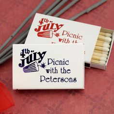 matchboxes shown with lettering style Algonquin using imprint colors metalllic red and metallic blue along with patriotic design 1262 Wedding Favors, Wedding Decorations, Monsieur Madame, July Wedding, Lets Celebrate, Sparklers, Celebrity Weddings, Wood Print, Wedding Inspiration