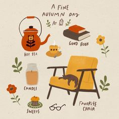 Turn up the hygge factor and get cozy this Fall! Free Illustration, Autumn Illustration, Garden Illustration, Art Fox, Autumn Aesthetic, Aesthetic Dark, Aesthetic Objects, Aesthetic Coffee, Autumn Cozy