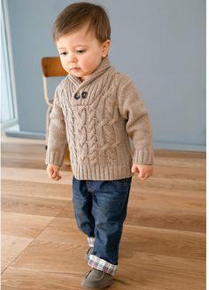 Jersey cuello esmoquin bebé niño - Trenzas delante - R BABY