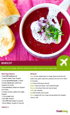 Guess what? You can get to Europe in under an hour! This recipe is your easy ticket to the Ukraine. Potato Recipes, Veggie Recipes, Soup Recipes, Dinner Recipes, Borscht Recipe, Borscht Soup, South African Recipes, Recipe Search, Comfort Foods