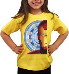 Camisetas 100% algodão, com o tema do super herói Iron Man. <br>Camisetas com várias cores e tamanhos e ótimo acabamento. <br>Entrega rápida, personalizamos com nome e com outros personagens. <br>Tamanhos do 02 ao 16. <br>Peça já a sua.