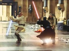 """My second favorite duel,""""Duel of the Fates"""" Obi-wan and his master Qui-gonn Jinn…"""