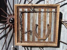 Reclaimed Barn Wood Wall Art With Old Workhorse Horseshoes And Barb Wire,  Horseshoe Art Western