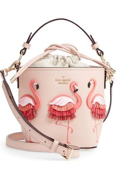 kate spade new york by the pool - flamingo pippa leather bucket bag | Nordstrom
