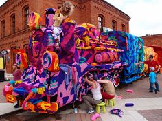 Olek's Colossal Yarn Bomb of a Four-Train Locomotive